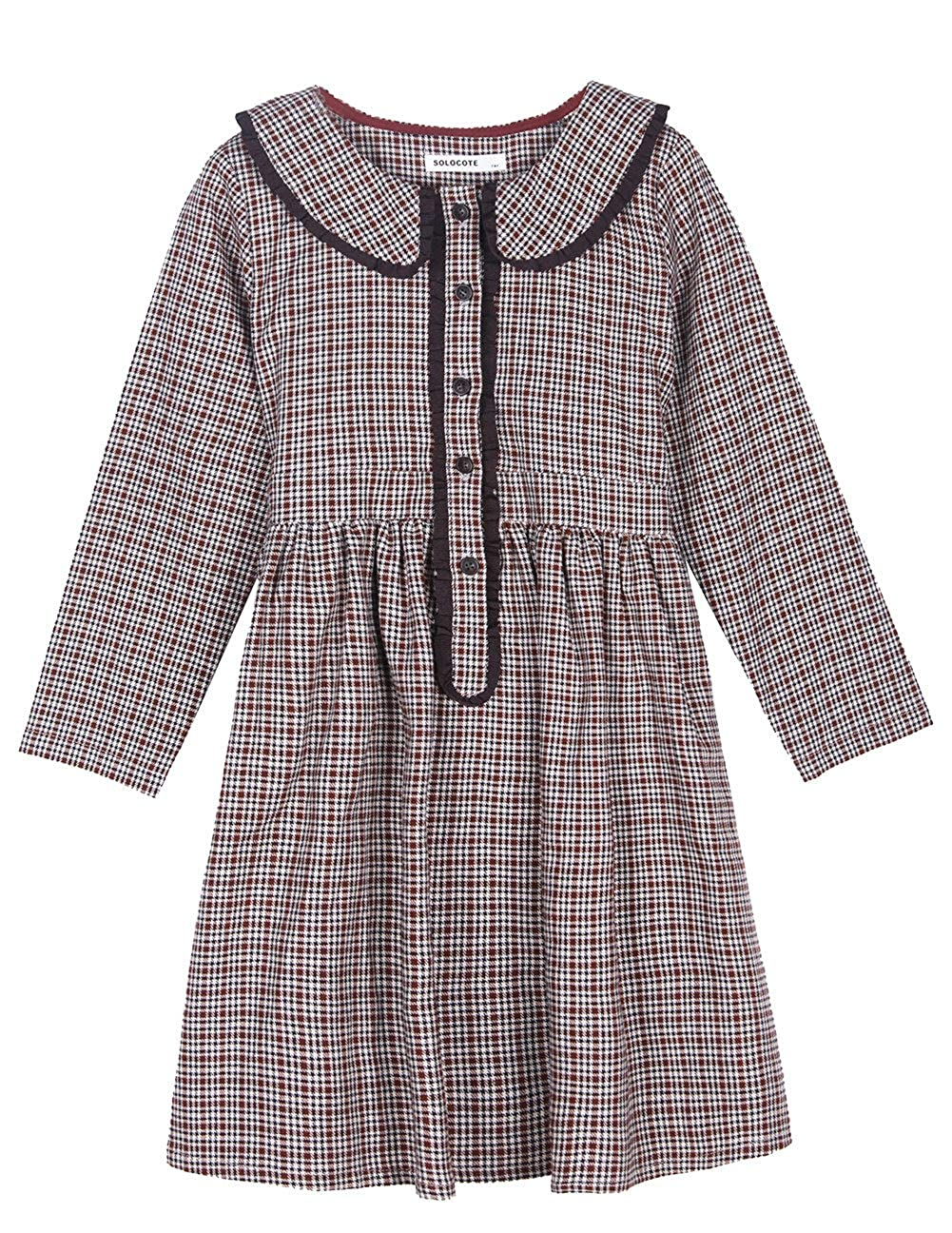 1920s Children Fashions: Girls, Boys, Baby Costumes SOLOCOTE Girls Plaid Dress Grey Spring Long Sleeve Dresses Peter Pan Collar 3-14Y $25.99 AT vintagedancer.com
