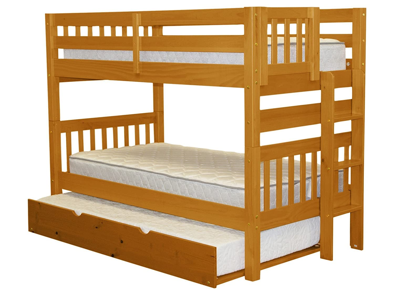 Bedz King Bunk Beds Twin over Twin Mission Style with End Ladder and a Twin Trundle, Honey