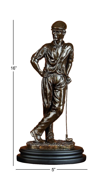 Deco 79 Poly-Stone Golfer, 16 by 8-Inch