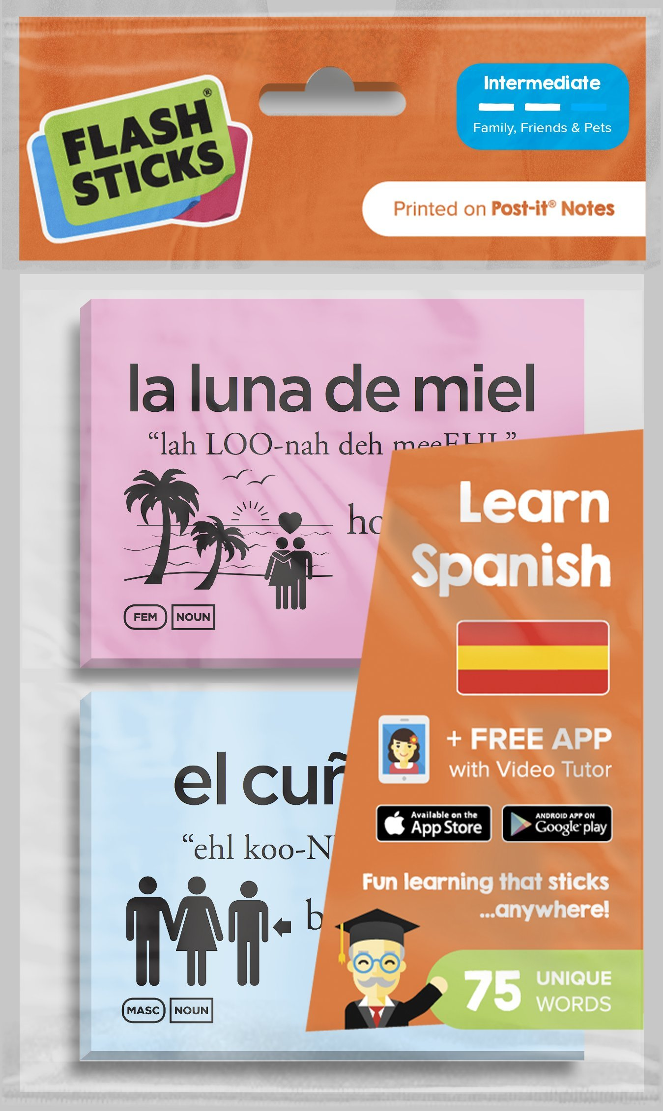 Flashsticks Spanish Post-it Notes (75 words) | Essential Spanish vocab to communicate about Friends, Family & Pets | Fun and Effective way to make language learning part of your daily routine+FREE App