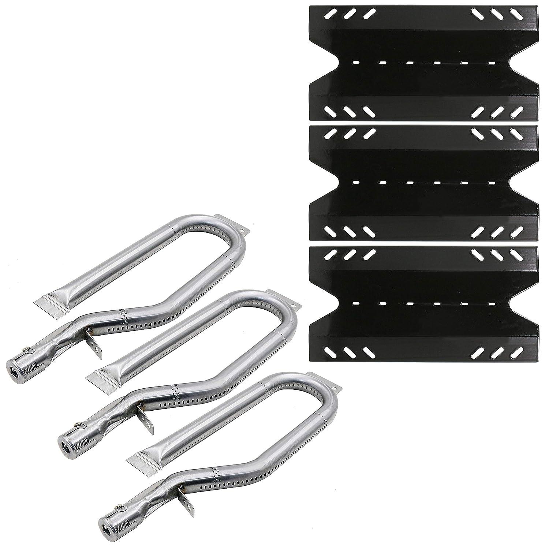Hisencn Gas Grill Repair Kit SS Burner, Porcealain Steel Heat Plate Parts -3pack Replacement for Members Mark BQ05046-6, BBQ Pro, Sam's Club, Outdoor Gourmet Gas Grill Midels