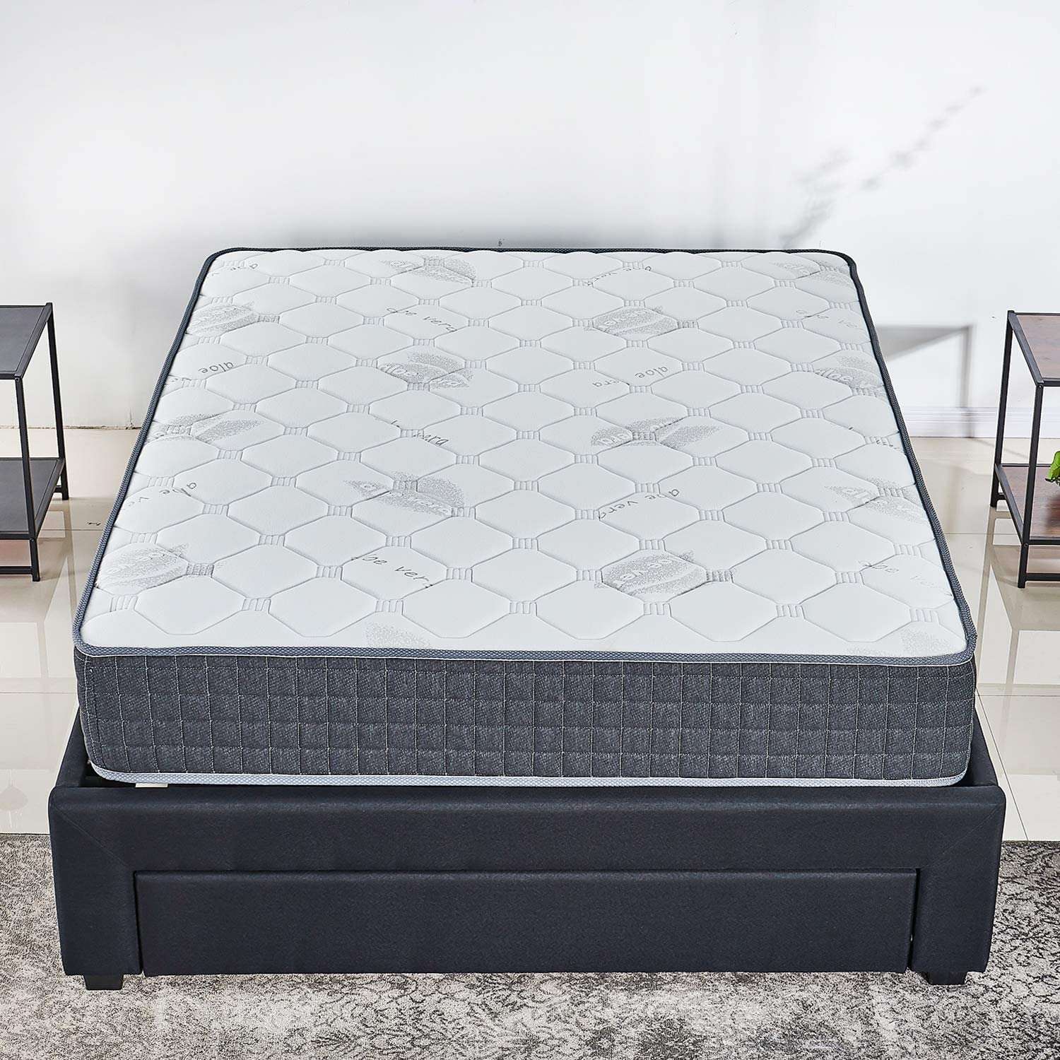 10 inch Latex Hybrid Coil Spring Mattress Cooling Bed in a Box-Pocket Innerspring Mattress CertiPUR-US 20Years Warranty Firm But Comfortable Twin