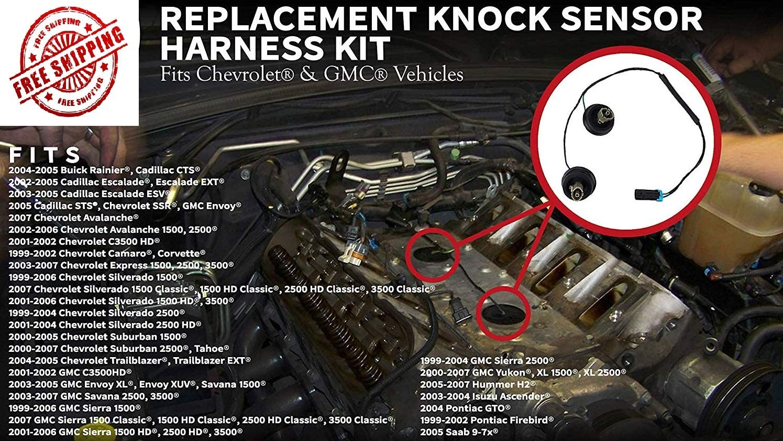 2001 Chevrolet Silverado 2002 Tahoe GMC Sierra Muzzys Knock Sensor Wire Harness Kit Replaces 917-033 2003 5.3 2005-2007 Avalanche Fits Chevy Suburban 6.0 2000 2004 Hummer 4.8 Yukon