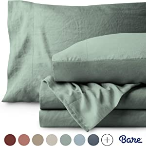 Bare Home Twin XL Sheet Set - College Dorm Size - Premium 1800 Ultra-Soft Microfiber Sheets Twin Extra Long - Double Brushed - Hypoallergenic - Stain Resistant (Twin XL, Sandwashed Slate)
