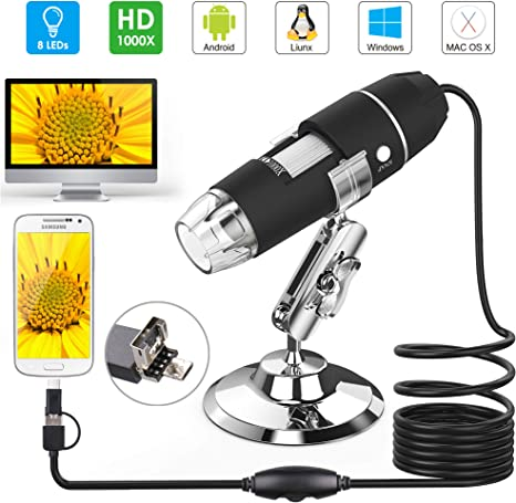 Microscopio USB, Splaks 1000 x High Power 3 en 1 PCB Microscopio Cámara USB Digital Microscopio con soporte de microscopio y 8 luces LED para niños compatible con Windows, Mac y Android: Amazon.es: Electrónica