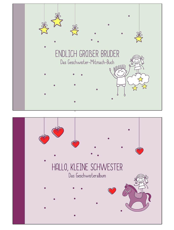 """Geschenk zur Geburt für Geschwister:""""Endlich großer Bruder-"""" +""""Hallo, kleine Schwester""""-Buch (Erinnerungs-/Foto-Album,Öko, Recycling-Papier) Öko Deko-und-Geschenke-Shop"""