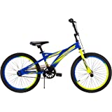 Huffy 20-inch Shockwave Boys' Bike, Recommended for Ages 5-9 and Ideal for a Rider Height of 44-56 inches, with Front Hand Brake/Coaster Brake, Two-Tone Wheel Rims, Neon Colors, Style 23067