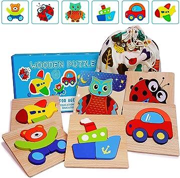 E-MANIS Juguetes Bebes 1 Año Puzzles de Madera 2 3 Años Montessori ...