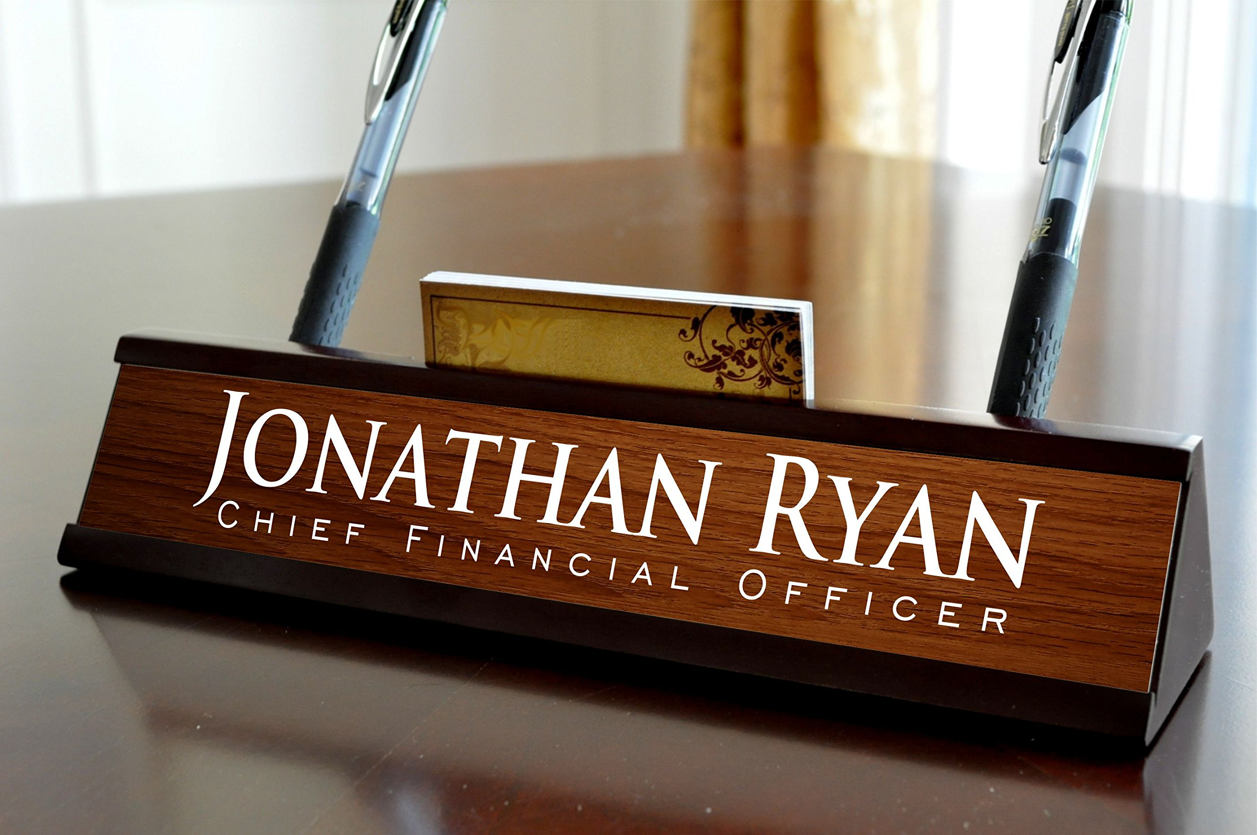 Personalized Desk Name Plate Dark Wood Finish