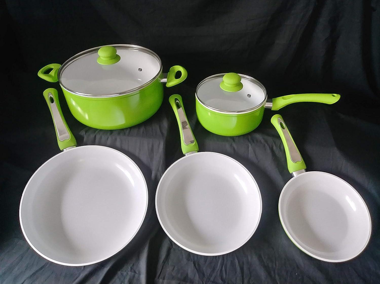 Chef's Choice セラミックノンスティック調理器具セット 7点 - IH対応 食器洗い機対応 ノンスティック鍋 蓋とフライパン付き PTFE PFOAフリー グリーン  グリーン B07R7C5FMN
