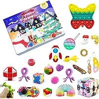 Fidget Toys jul nedräkningskalender, 24 dagars adventskalender sensorisk leksaksset presentförpackning 2021 Push Pop…