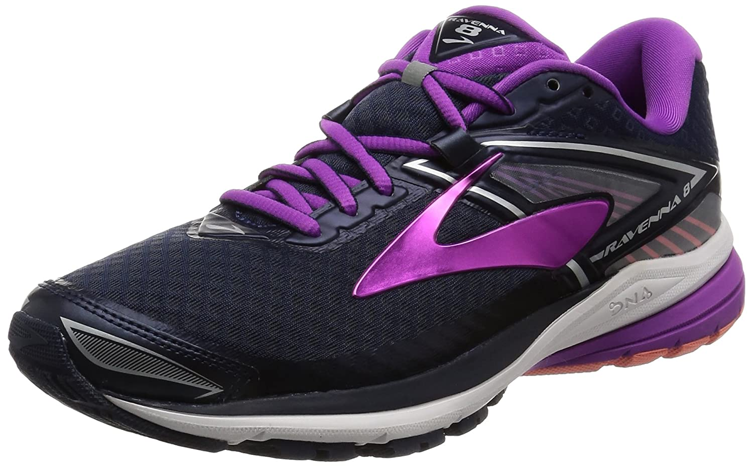 Brooks Women's Ravenna 8 B01GEYZDOI 12 D US|Peacoat/Purple Cactus Flower/Fusion Coral