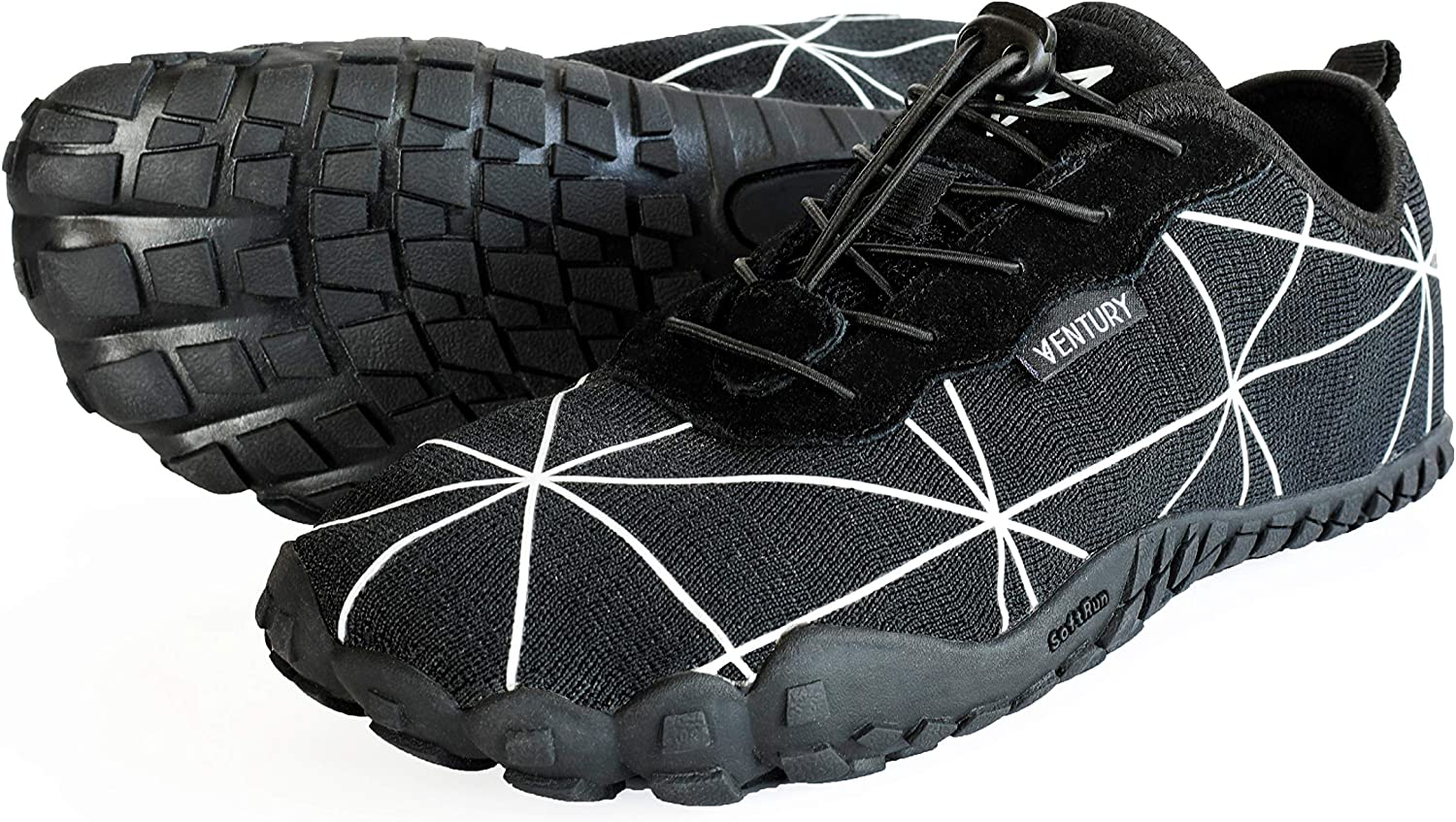 Ventury Zero Barefoot Trail Running Shoes – Minimalist Runners with Wide Toe Box, Zero Drop Sole and Odor-Free Insole with Real Silver for Men and Women