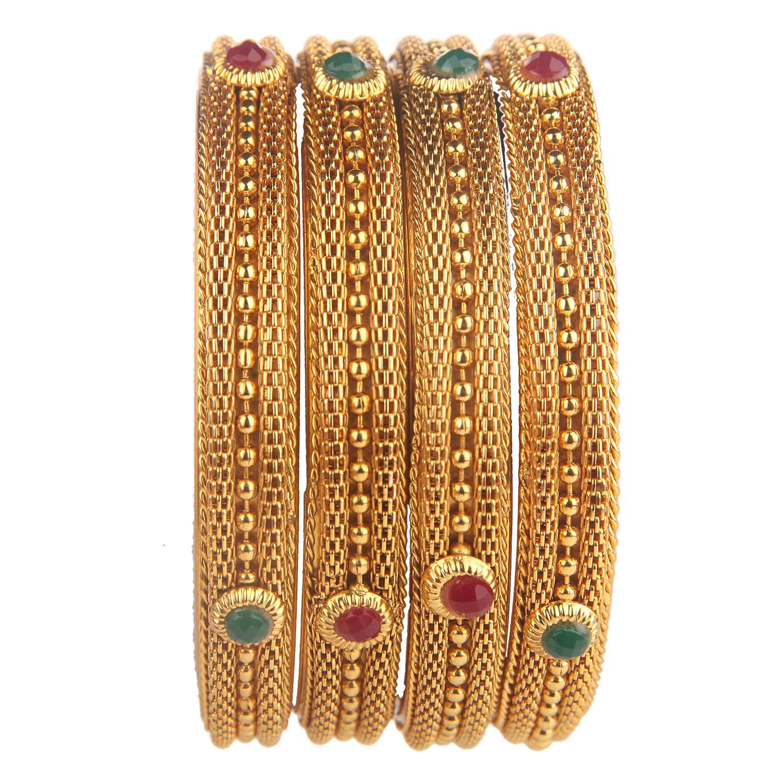 Efulgenz Fashion Jewelry Indian Bollywood 14 K Gold Plated Crystal Multicolor Bracelets Bangle Set (4 Pc) Jaipur Art Jewellery BNG92_2.4