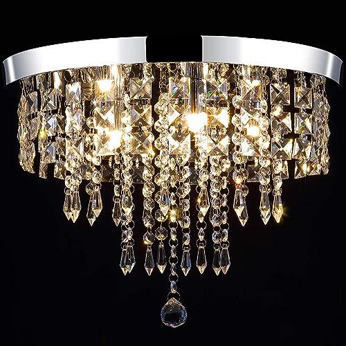 Modern Crystal Chandeliers Lighting Flush Mount LED Ceiling Light Fixture 5 Lights G9 Pendant Chandelier Diameter 15.7″