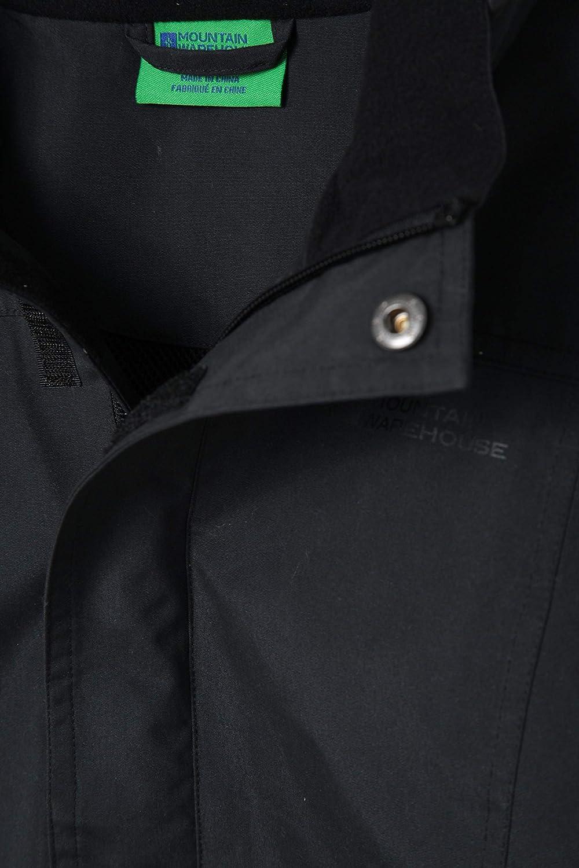 Poches s/écuris/ées Rabat-temp/ête Durable pour la Marche Noir 9-10 Ans Manteau de Pluie imperm/éable Mountain Warehouse Veste pour Enfants Orbit