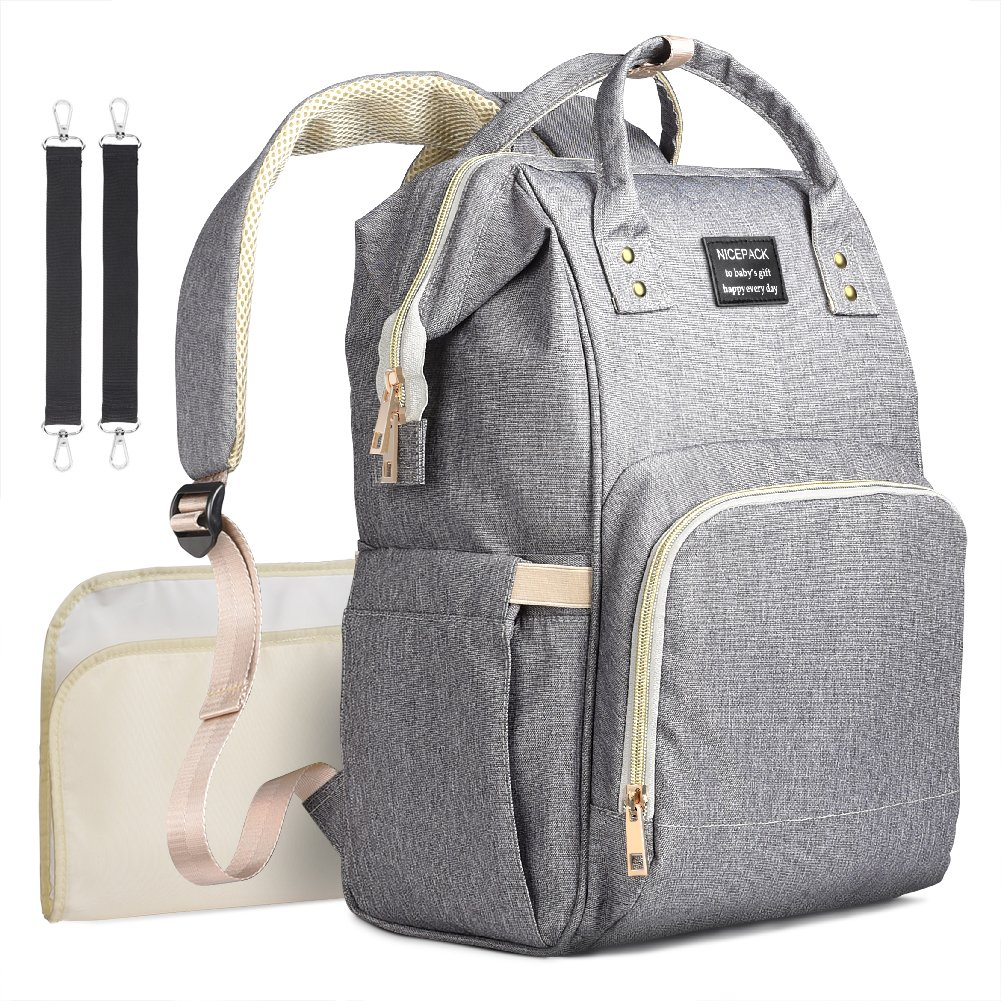 714ce3cd84 Amazon.com : Diaper Bag Backpack Multifunctional Larger Nappy Bag with  Changing Pad Waterproof Travel Backpack for Baby Cares : Baby
