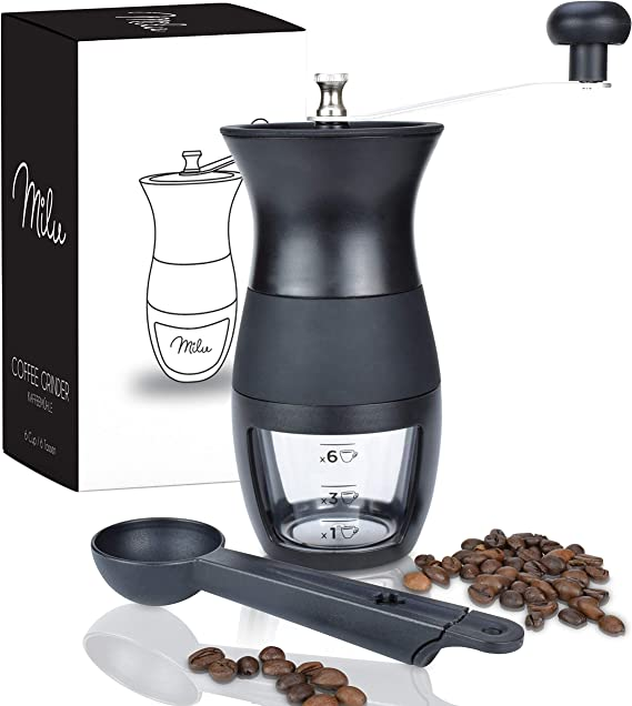 Milu ® Molinillo de Café Manual,Molinillo de Cónico,Molinillo de ...