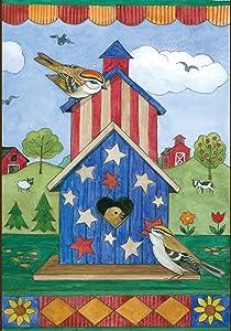 Toland Home Garden American Birdhouse 12.5 x 18 Inch Decorative Patriotic Summer July 4 Farm Bird Garden Flag