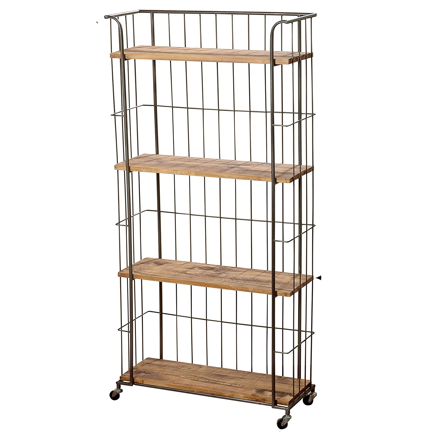 WHW Whole House Worlds Urban Chic Rolling Rack with 4 Plank Shelves, Wheels, Metal and Wood, Approx. 5 ft Tall 59 Inches – 150 cm