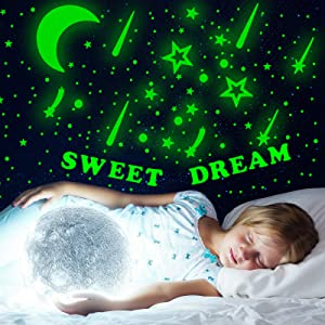 6 Sheets 3D Glow in The Dark Stars for Ceiling , Glow Wall Decals Alphabet for Girls Bedroom,Glow 3D Moons Room Decor for Girls Bedroom,Glow Meteors Wall Stickers for Kids-Green