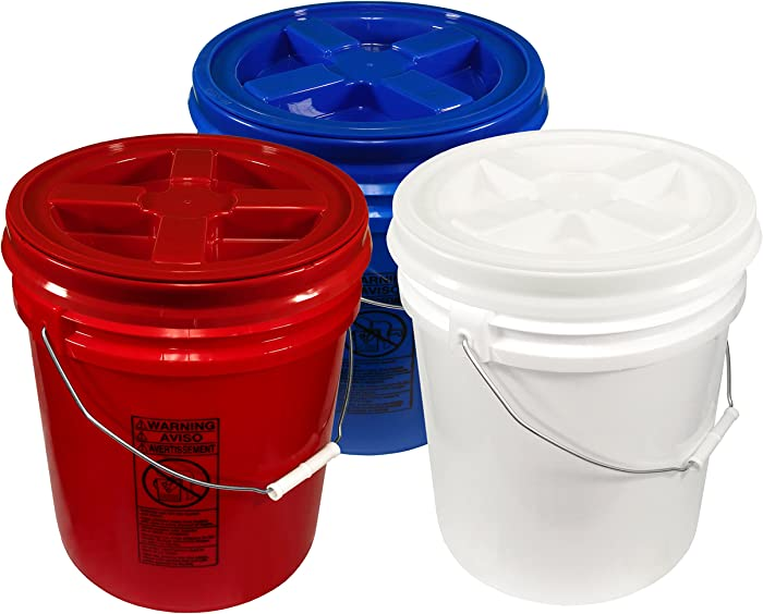 Patriot Pails, 5 Gallon Buckets with Matching Gamma Seal Lids (3 Pack)