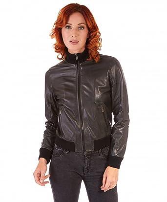 D Arienzo - G155 • Couleur Verte • Veste en Cuir d agneau Aspect Vintage  Style Bomber - S, Vert  Amazon.fr  Vêtements et accessoires 35df9e05532