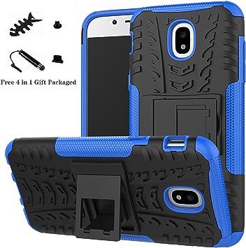 LiuShan Galaxy J5 2017 Funda, Heavy Duty Silicona Híbrida Rugged Armor Soporte Cáscara de Cubierta Protectora de Doble Capa Caso para Samsung Galaxy J5 2017 (5,2 Pulgadas SM-J530F) Smartphone,Azul: Amazon.es: Electrónica