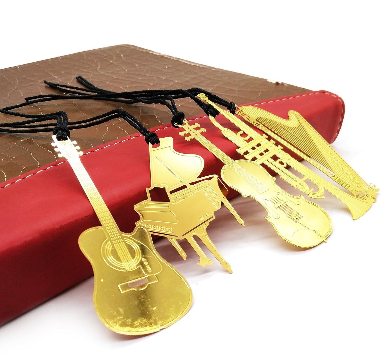 Brass Bookmark 6 Pcs/set, Different Trumpet Harp Volin Piano Guitar Ultra Organ Thin Metal Brass Bookmark Value Pack Chirstmas Gift KOOTIPS Kootips-1-4048