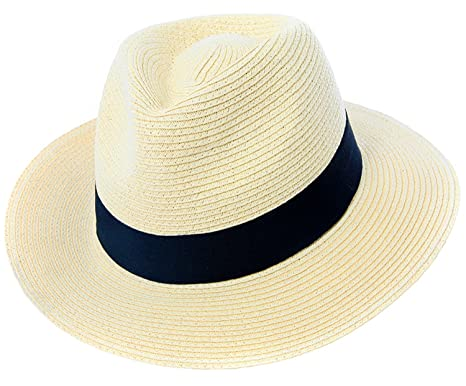 75a09fe67b8 Mens or Womens Straw Fedora Hat Crushable Wide Brim Panama Hat Trilby  Summer Cap  Amazon.co.uk  Clothing