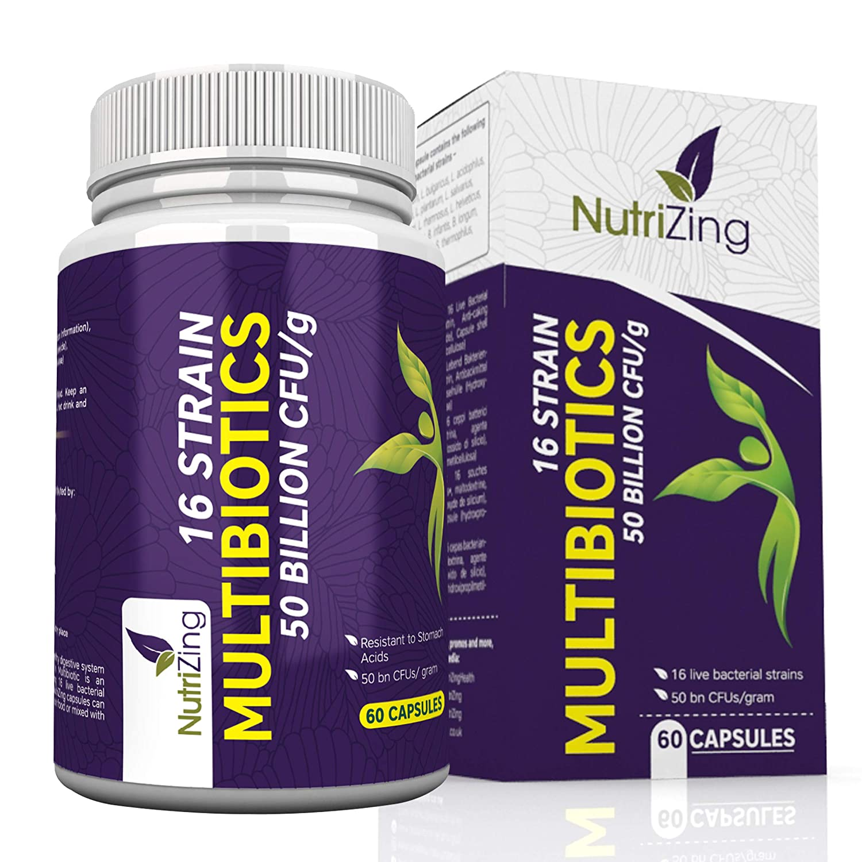 Probiotici 16 Ceppi di Batteri Benefici - 100% Vegetariano e Vegano - Capsule a Rilascio Graduale - Fermenti Lattici da NutriZing - Senza Glutine