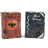 Book of Shadows & Book of Spells LED Lit Halloween Decorative Books - Set of 2