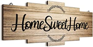 Jetec Home Sweet Home Sign, Rustic Wood Home Wall Decor, Large Farmhouse Home Sign Plaque Wall Hanging Wooden Sign for Bedroom, Living Room, Wall, Wedding Decor (Wood Color)