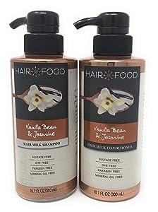 Hair Food Vanilla Bean & Jasmine Hair Milk Shampoo and Conditioner Set 10.1 oz (Sulfate Free, Dye Free, Paraben Free, Mineral Oil Free)