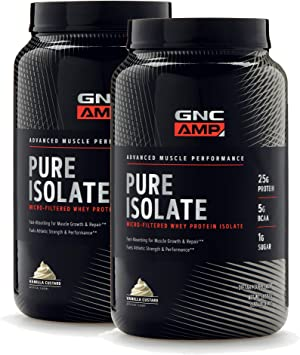 GNC AMP Pure Isolate - Vanilla, Twin Pack, 28 Servings Each, 25 Grams of Whey Protein Isolate