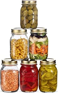 Bormioli Rocco Quattro Stagioni Glass Mason Jars - (17 Ounce) with Gold Airtight Lid for Canning, Fermenting, Preserving, Storing, Italian Made Glass Jar (6 Pack)