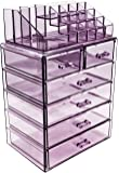 Sorbus (Acrylic Cosmetic Makeup and Jewelry Storage Case Display - Spacious Design - Great for Bathroom, Dresser, Vanity and Countertop (4 Large, 2 Small Drawers, Purple)