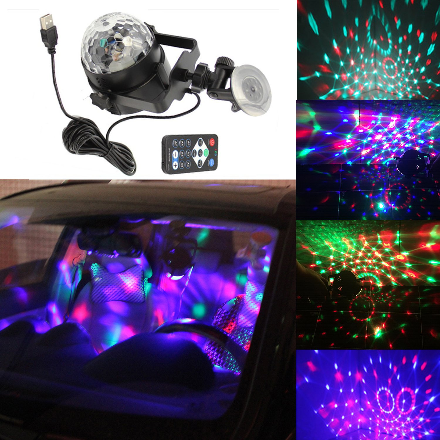 Dr.OX USB Disco Light Car DJ Sound Activated Toy Lights with Remote Control for Kids Birthday Party Bar DJ Home Club Wedding Dancing Show by Dr.OX