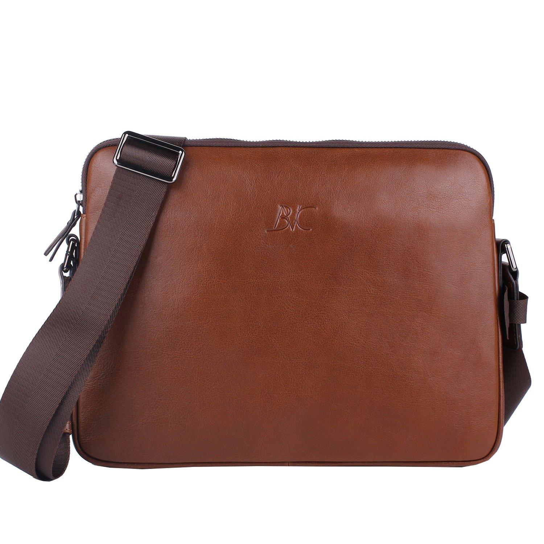 Banuce Small Vintage Leather Menssenger Bag for Men Shoulder Crossbody Bag Brown