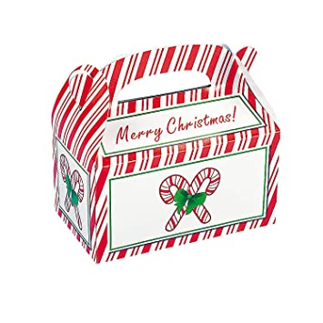 8 candy cane christmas treat boxes cardboard approx 6l x