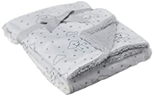 Hudson Baby Unisex Baby Plush Blanket with Sherpa Back, Gray Clouds, One Size