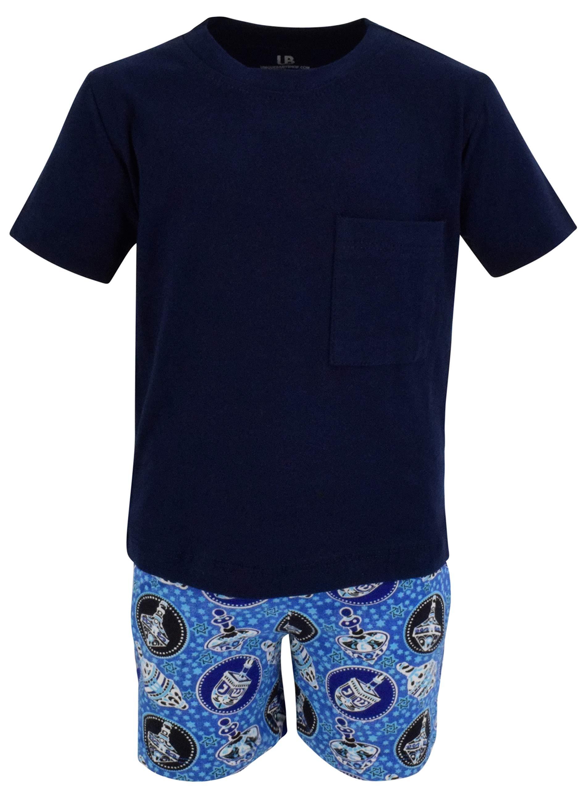 Unique Baby Boys 2 Piece Dreidel Print Hanukkah Outfit Shirt Shorts (5)