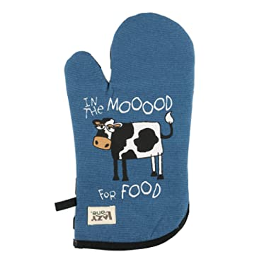 Moody in The Mornings Durable Canvas Cottons Oven Mits by LazyOne   Cabin, Home and Kitchen Animal Gifts (ONE Size)