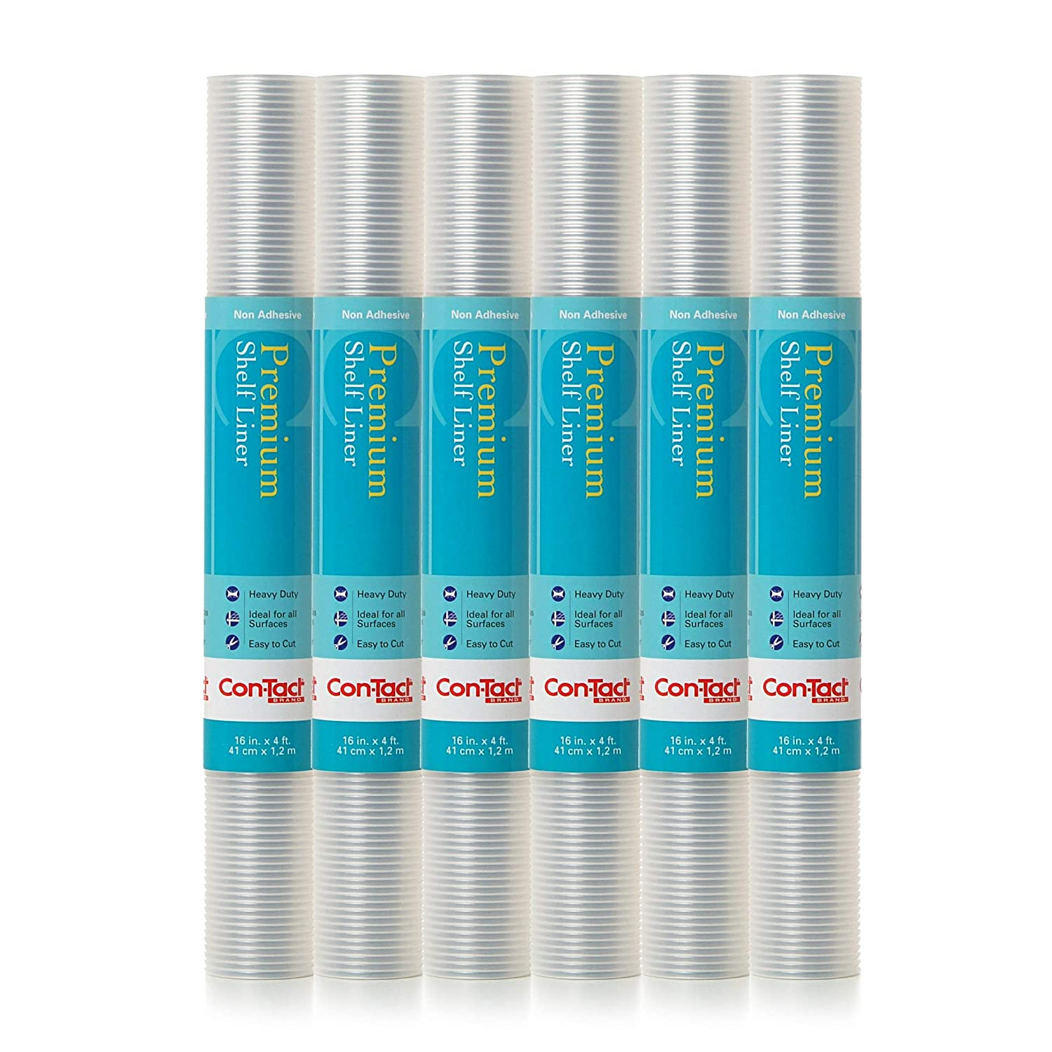 """Con-Tact Brand Brand Premium Non-Adhesive Contact Shelf and Drawer Liner, 16"""" x 4',6 Rolls, Ribbed Clear"""