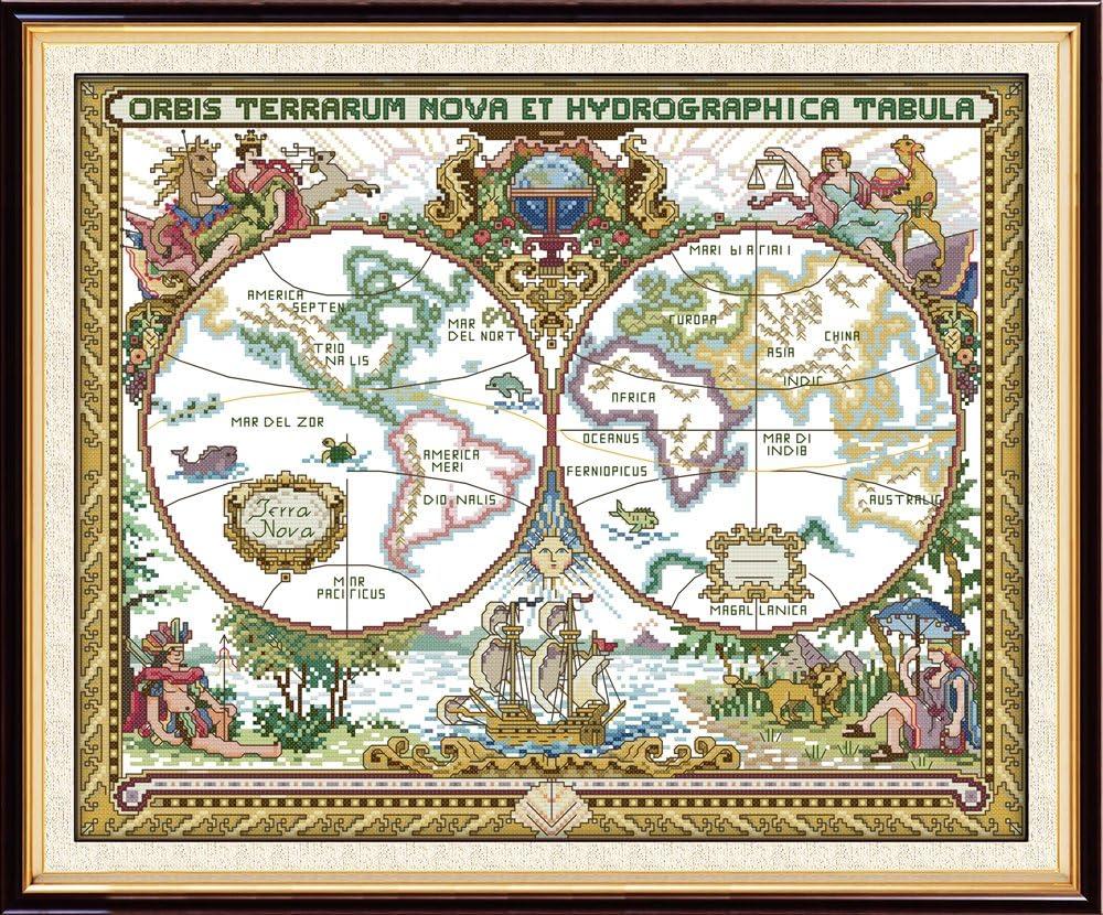 Joy Sunday - Kit de punto de cruz, diseño de punto de cruz, diseño de mapa antiguo del mundo con hilos DMC, color blanco