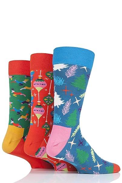 Happy Socks Hombres De 3-Pack Retro Cantando Navidad Calcetines Caja De Regalo, Rojo/verde/azul: Amazon.es: Ropa y accesorios