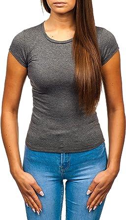 BOLF Mujer Camiseta de Manga Corta Básica Escote de Pico Camiseta ...
