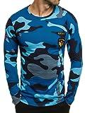 OZONEE Herren Longsleeve Sweatshirt Langarmshirt Camouflage Armee Militärstil ATHLETIC 1086