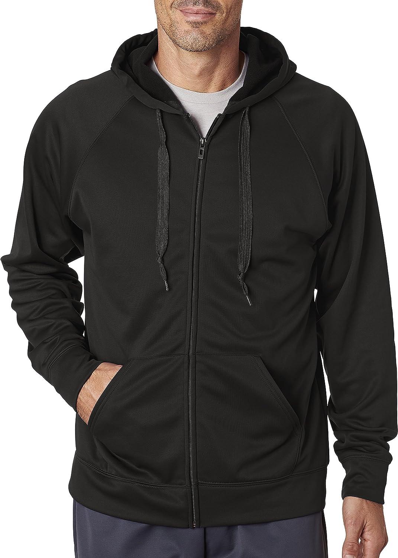 Noir - Noir US grand Jerzees pour Homme 6 G Sport Tech en Polaire zippé Hood (Pf93mr)