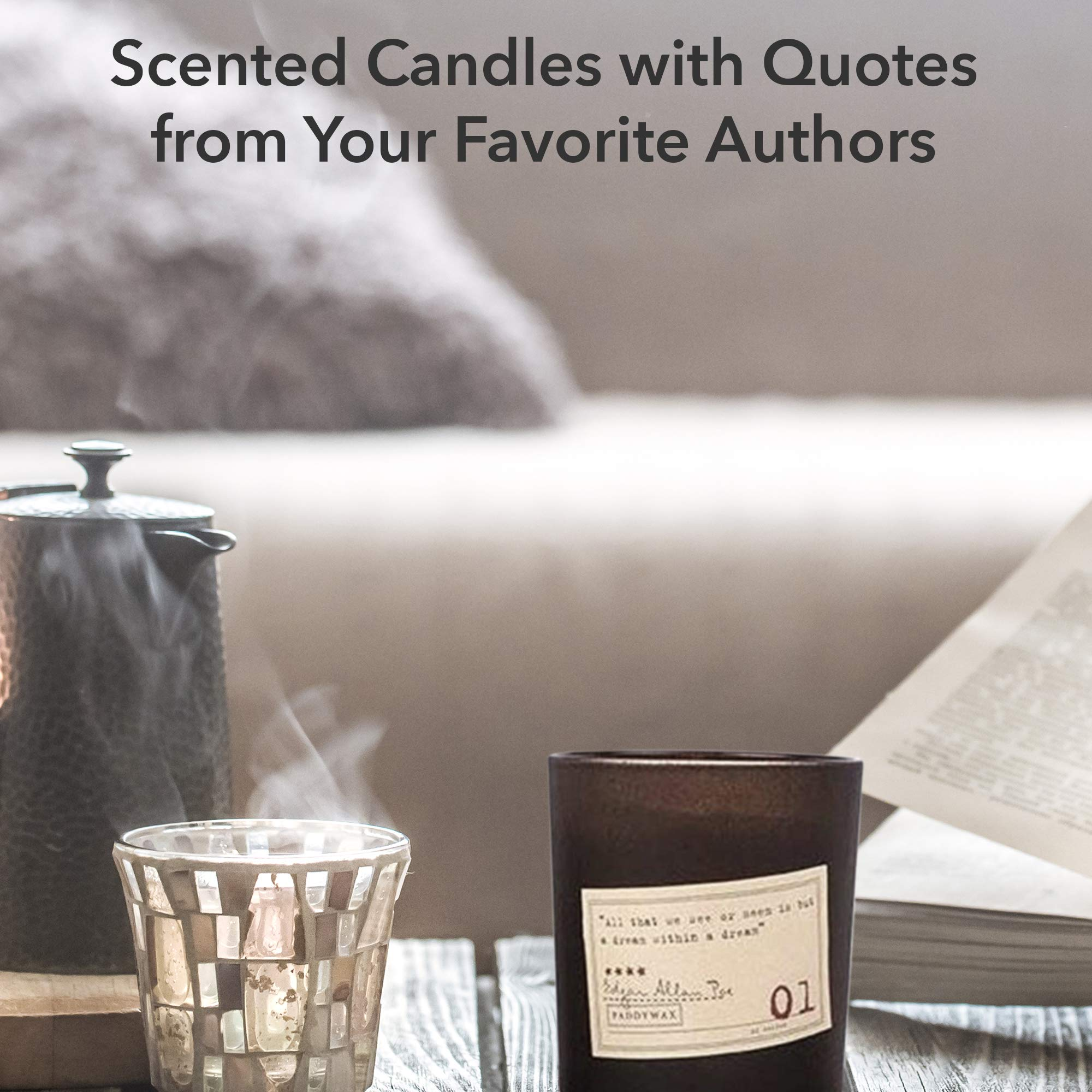 Stock Your Home Paddywax Library Candle Collection Set of 4 Edgar Allan Poe & Jane Austen - 6.5-Ounce & Travel Tin Scented Soy Wax Candle Combo Gift Set with Bonus Wick Trimmer